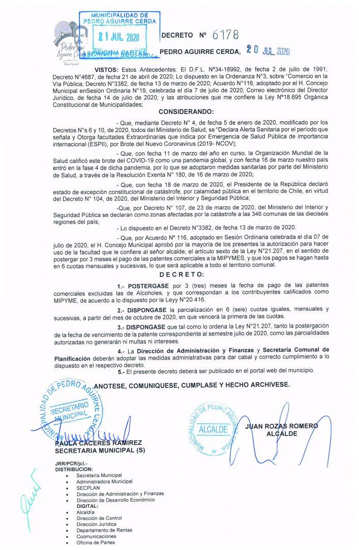 Postergación Patentes PAC